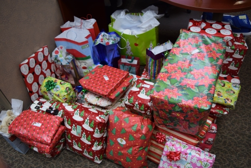 Citizens Bank Minnesota's New Ulm main office provided gifts for a local family in need.