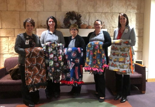 Delivering blankets to the New Ulm Virginia Piper Cancer Center